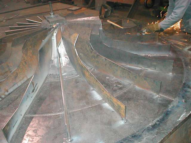 Fabrication in process of blower wheel