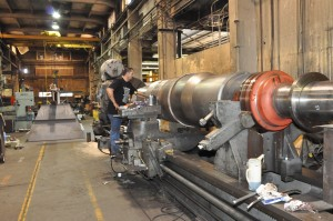 machining fan shaft in our large Niles lathe