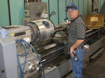 Lathe machining of babbitt crosshead in our machine shop.