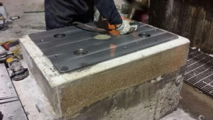 Grouting of soul plates for motor and gear box by millwrights.