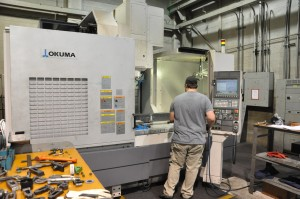 Okuma vertical CNC machining center in our Salt Lake City, utah Machine shop.
