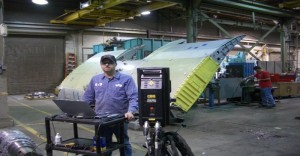 Laser scanning wing in our Salt Lake City, Utah machine shop.